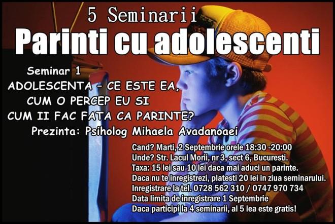 Seminar pentru părinţi cu adolescenţi, la Bucureşti